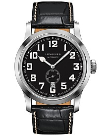 Longines Men's Swiss Automatic Chronograph Heritage Military Black Leather Strap Watch 44mm L28114530