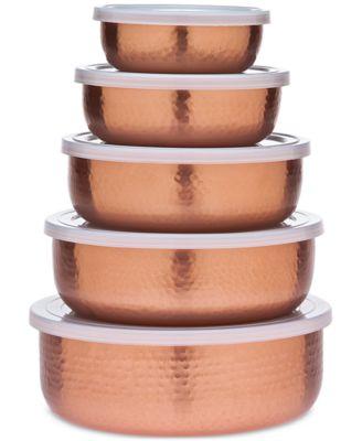 5-Pc. Hammered Copper Storage Bowl Set