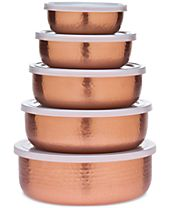Godinger 5-Pc. Hammered Copper Storage Bowl Set