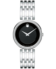 Movado Women's Swiss Esperanza Diamond (1/4 ct. t.w.) Stainless Steel Bracelet Watch 28mm 0607052
