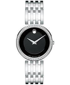 Movado Women's Swiss Esperanza Diamond (1/4 ct. t.w.) Stainless Steel Bracelet Watch 28mm 0607052