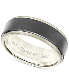Raw Men's Band in Tungsten and 18k White, Yellow or Rose Gold