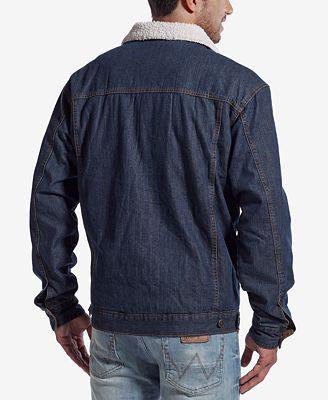 Wrangler Men S Western Jean Jacket With Faux Sherpa Lining