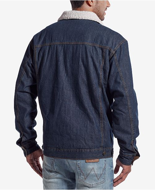 34a7b505 Wrangler Men's Western Jean Jacket with Faux-Sherpa Lining & Reviews ...