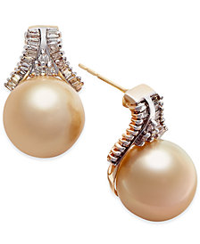 Cultured Golden South Sea Pearl (10mm) and Diamond (5/8 ct. t.w.) Stud Earrings in 14k Gold