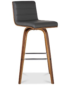 """Vienna 26"""" Counter Height Barstool in Walnut Wood Finish with Grey Faux Leather"""
