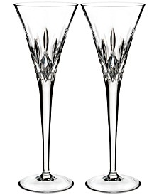 Lismore Pops Clear Toasting Flute Pair