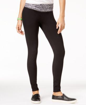 Active Juniors' Printed-Waist Yoga Leggings, Created for Macy's