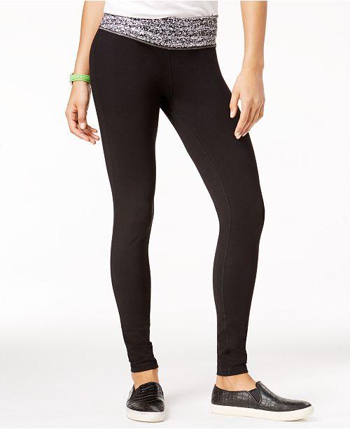 Material Girl Active Juniors' Printed-Waist Yoga Leggings, Created for Macy's