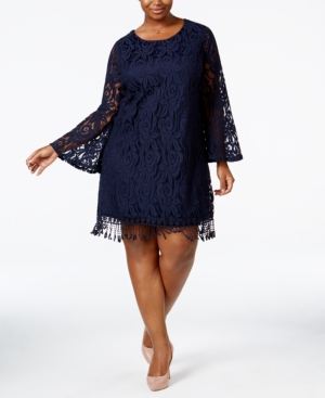 1920s Plus Size Dresses Ing Plus Size Lace Fringe-Trim Dress $49.99 AT vintagedancer.com