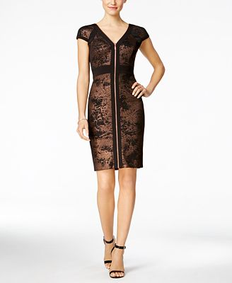 JAX Metallic Zip-Front Sheath Dress