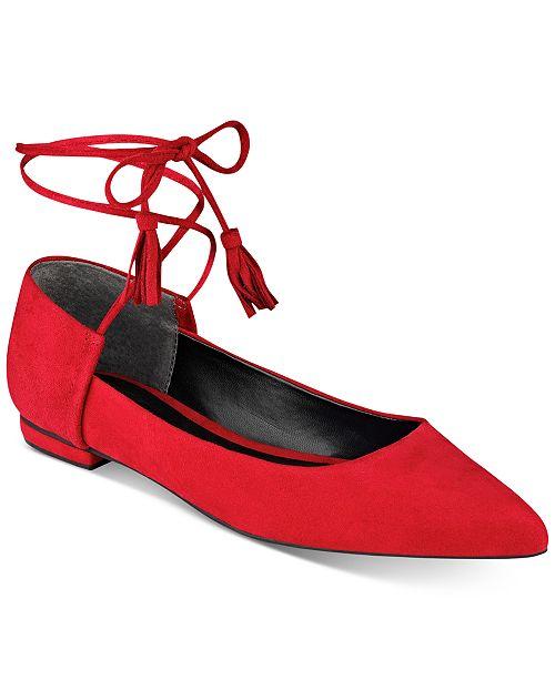 GUESS Women's Vida Pointy-Toe Ankle-Wraparound Ballet Flats