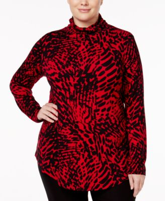 JM Collection Plus Size Printed Turtleneck Top, Only at Macy's
