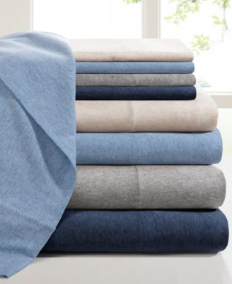 Heathered Cotton Jersey 4-Pc. Solid Full Sheet Set