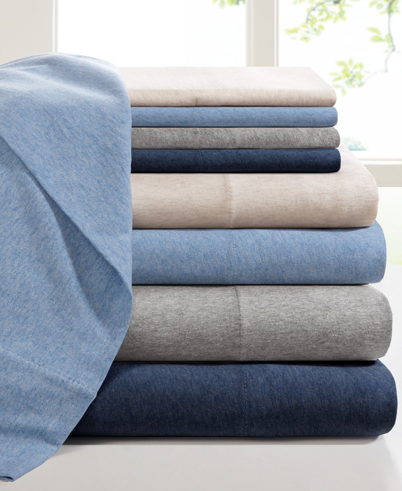 Heathered Cotton Jersey Solid Sheet Sets - Sheets - Bed & Bath - Macy's