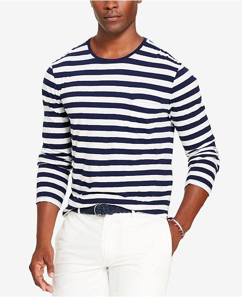 77b7b1a9 Polo Ralph Lauren Men's Striped Long-Sleeve T-Shirt & Reviews - T ...