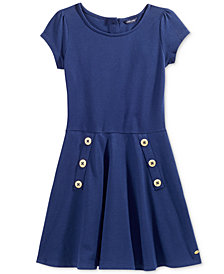 Tommy Hilfiger Big Girls Short-Sleeved Button Skater Dress
