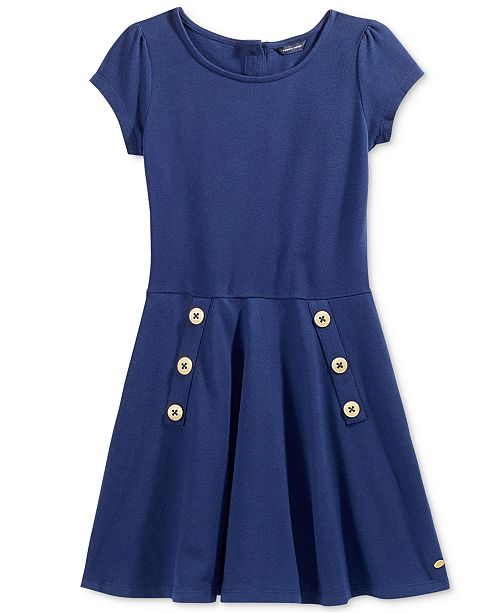 Tommy Hilfiger Big Girls Short-Sleeved Classic Pique Dress
