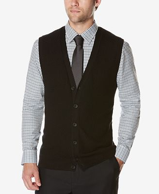Perry Ellis Men's Button-Front Sweater Vest - Sweaters - Men - Macy's