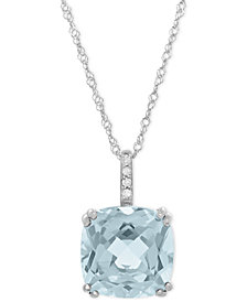 Aquamarine (2-5/8 ct. t.w.) and Diamond Accent Pendant Necklace in 14k White Gold