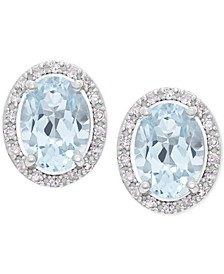 Aquamarine (1-1/3 ct. t.w.) and Diamond (1/10 ct. t.w.) Halo Stud Earrings in 14k White Gold