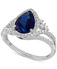 Lab Created Sapphire (2-3/8 ct. t.w.) and White Sapphire (3/8 ct. t.w.) Ring in Sterling Silver