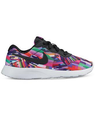 Nike Little Girls' Tanjun Print Casual Sneakers from Finish Line