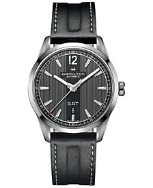 Men's Swiss Automatic Broadway Black Calf Leather Strap Watch 42mm H43515735