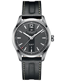 Hamilton Men's Swiss Automatic Broadway Black Calf Leather Strap Watch 42mm H43515735