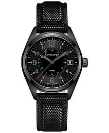 Hamilton Men's Swiss Khaki Field Black Rubber Strap Watch 40mm H68401735