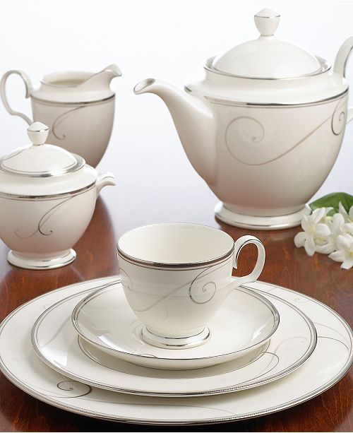 Fluid Platinum Scrolls Glide Freely Throughout Beautiful Wave Dinnerware From Noritake Easy To Match With Any Decor In Soft Ivory This Exquisite
