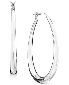 Giani Bernini Large Sterling Silver Graduated Drop Hoops, 1.75""