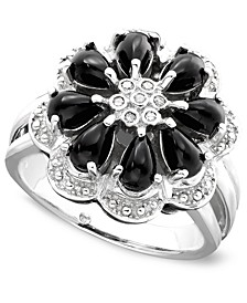 Onyx and Diamond Accent Flower Ring in Sterling Silver