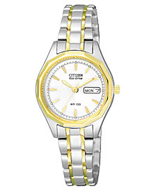 Citizen Women's Eco-Drive Two Tone Stainless Steel Bracelet Watch 26mm EW3144-51A