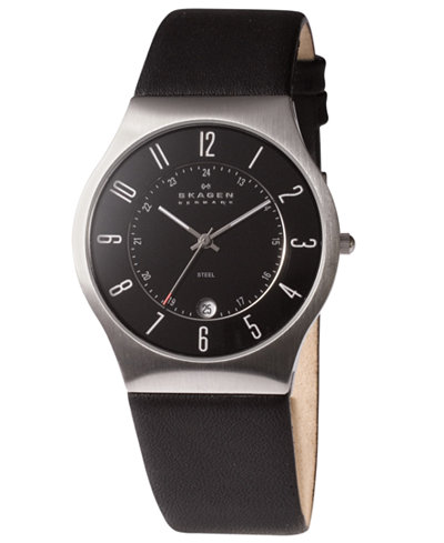 Skagen Men's Black Leather Strap Watch 37mm 233XXLSLB