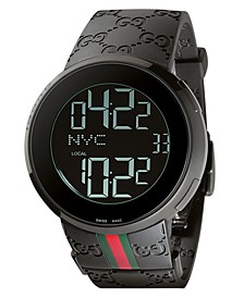 Unisex I-Gucci Collection Black Rubber Strap Watch 44mm YA114207