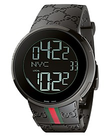 Gucci Unisex I-Gucci Collection Black Rubber Strap Watch 44mm YA114207