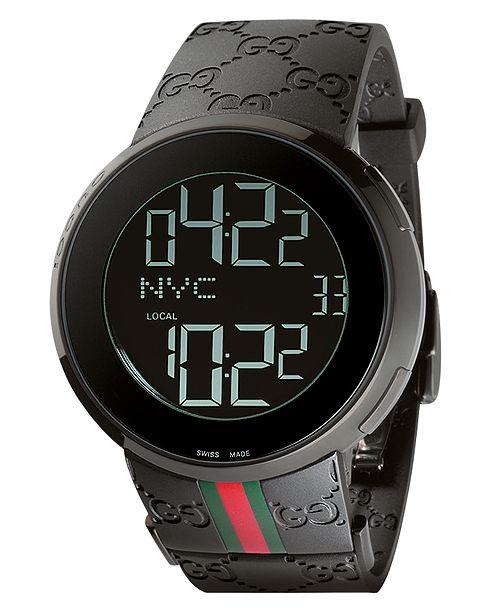 ... Gucci Unisex I-Gucci Collection Black Rubber Strap Watch 44mm YA114207  ... e6bd370a8a2