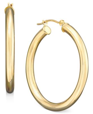 Macy S Polished Hoop Earrings In 14k Gold Jewelry Watches
