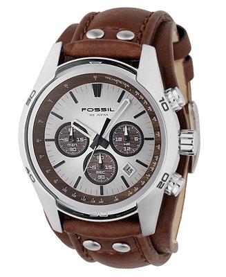 fossil men 39 s decker brown leather strap watch ch2565