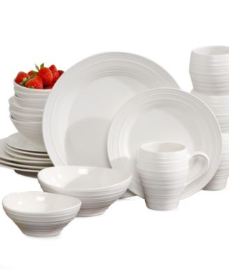Mikasa Swirl White 20 Piece Set Service for 4  sc 1 st  Macy\u0027s & Mikasa Swirl White 20 Piece Set Service for 4 - Dinnerware - Dining ...