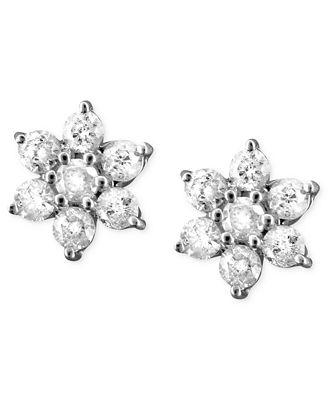 Diamond Flower Earrings in 14k White Gold (1 ct. t.w.)