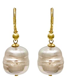 18k Gold over Sterling Silver Earrings, Organic Man-Made Baroque Pearl Drop