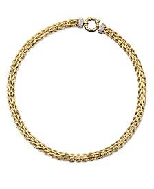 14k Gold Necklace, Diamond Spiga (1/8 ct. t.w.)