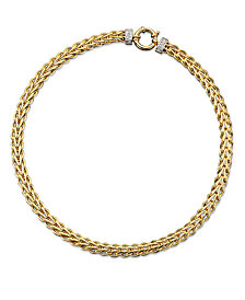 14k Gold Necklace, Diamond Spiga (1/8 ct. t.w.)