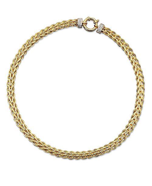 Macy's 14k Gold Necklace, Diamond Spiga (1/8 ct. t.w.)