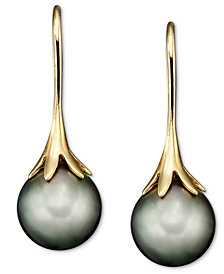 14k Gold Earrings, Cultured Tahitian Pearl