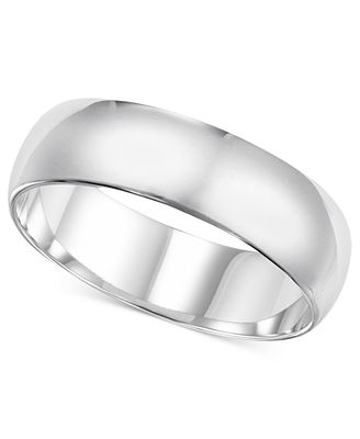 14k White Gold Ring 6mm Wedding Band Rings Jewelry & Watches
