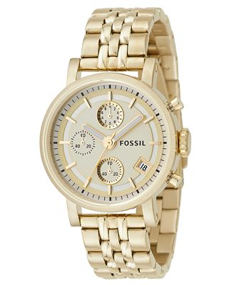 Fossil Women's Gold Plated Bracelet Watch ES2197