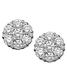 Diamond Cluster Earrings in 14k White Gold (2 ct. t.w.)